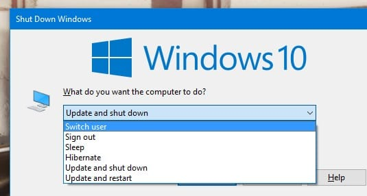 Windows 10 will not allow you to turn off the computer until the updates are installed