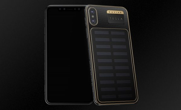 iPhone X Tesla with a solar battery