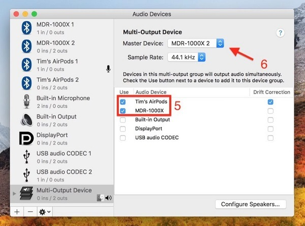 MacOS in detail: output the sound on the two headphones