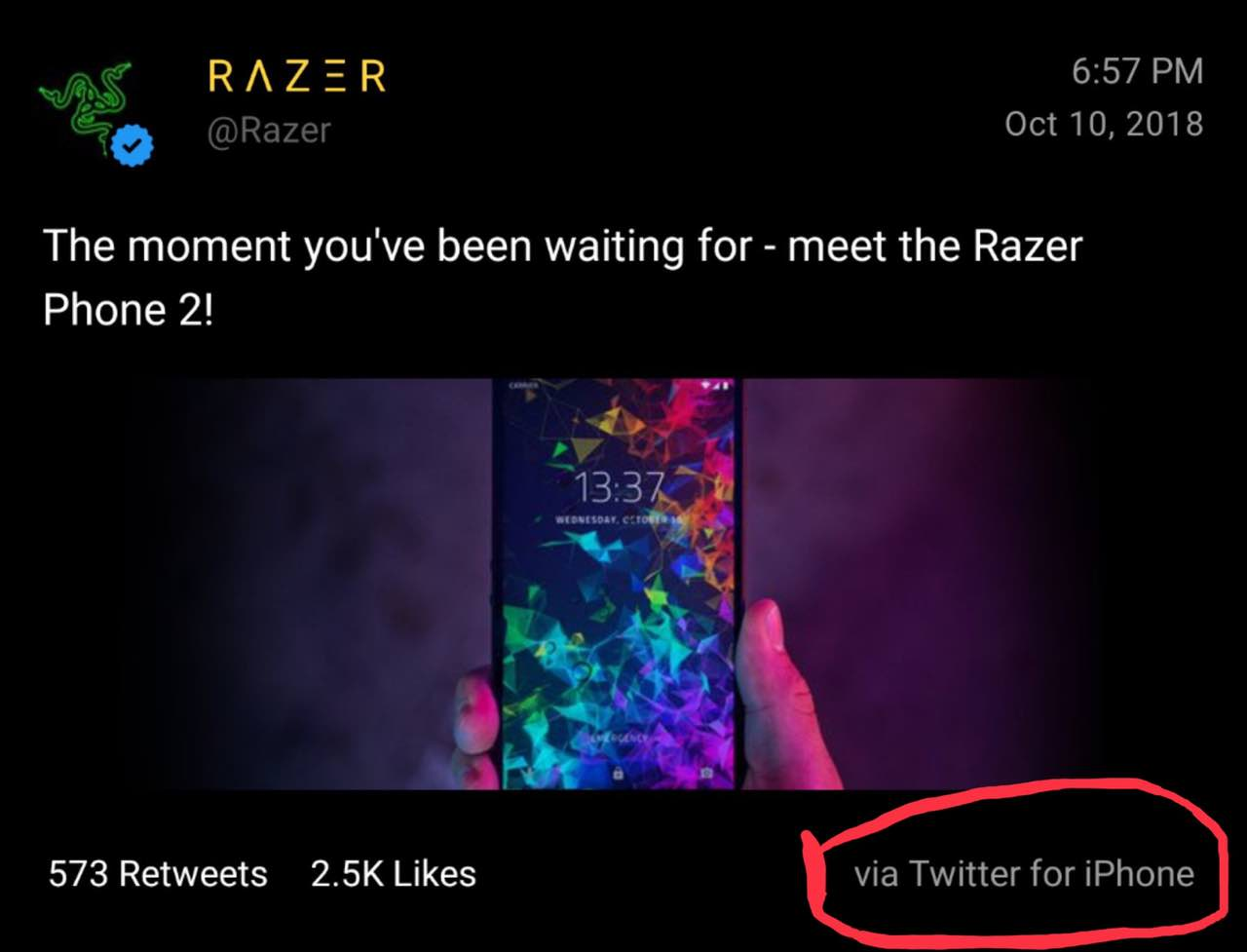 Staff Razer prefer iPhone smartphones of its own production