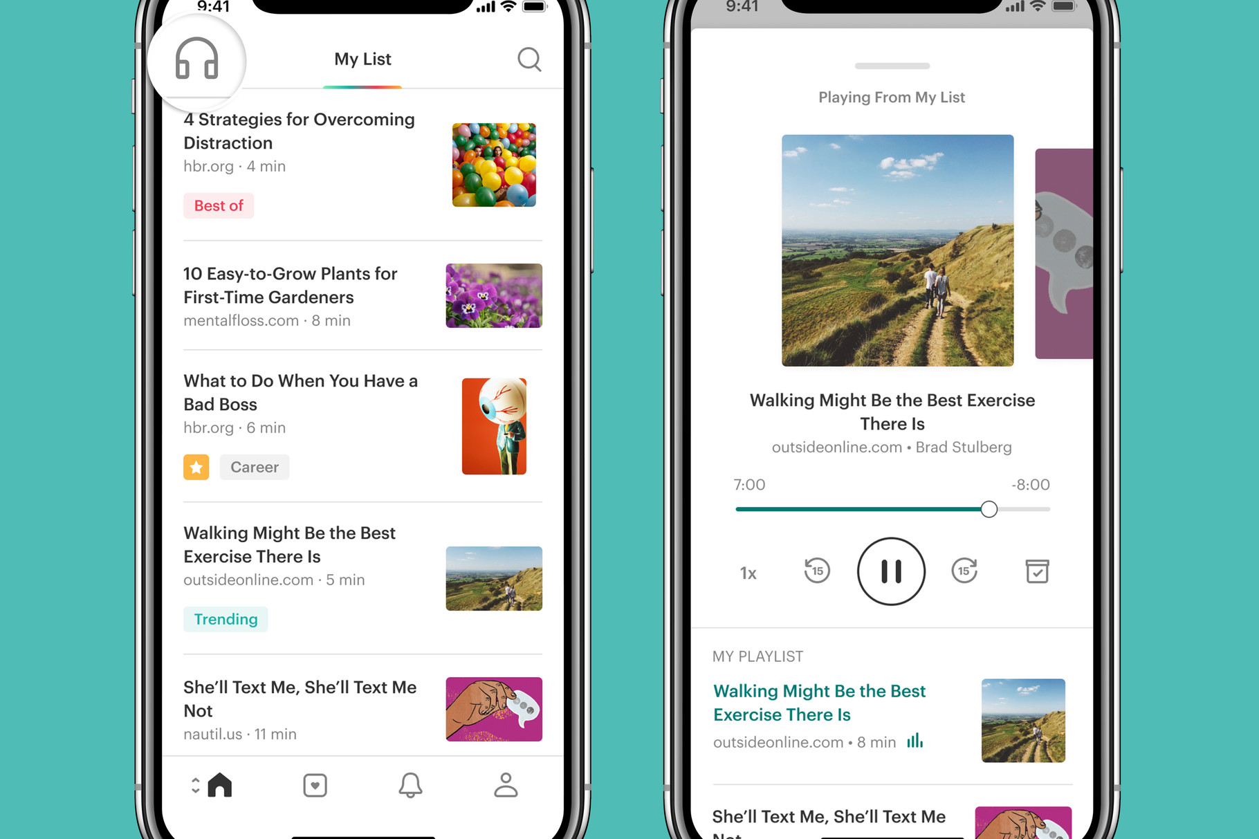 The Pocket app has a new design and updated feature to listen to text