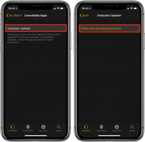 How to find legacy applications in Apple Watch and delete them