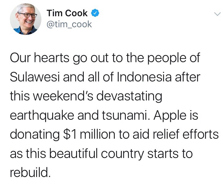 Apple has donated $ 1 million to help the victims in Indonesia