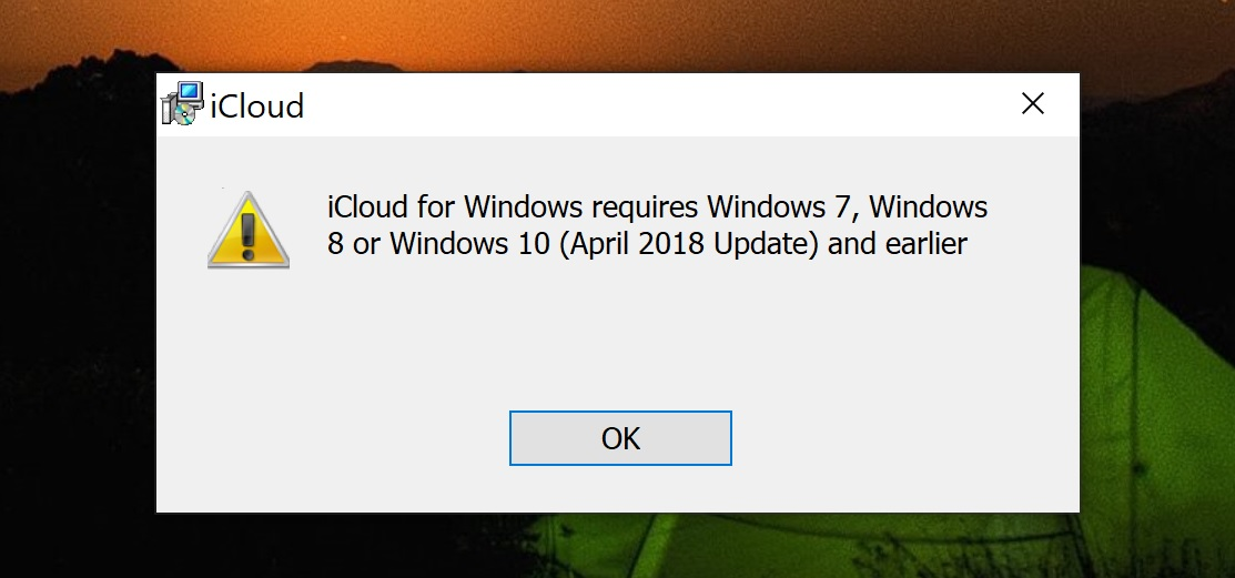 The October update for Windows 10 blocked the work of iCloud