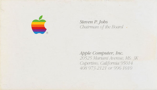 Business card of Steve jobs sold for $ 6,000