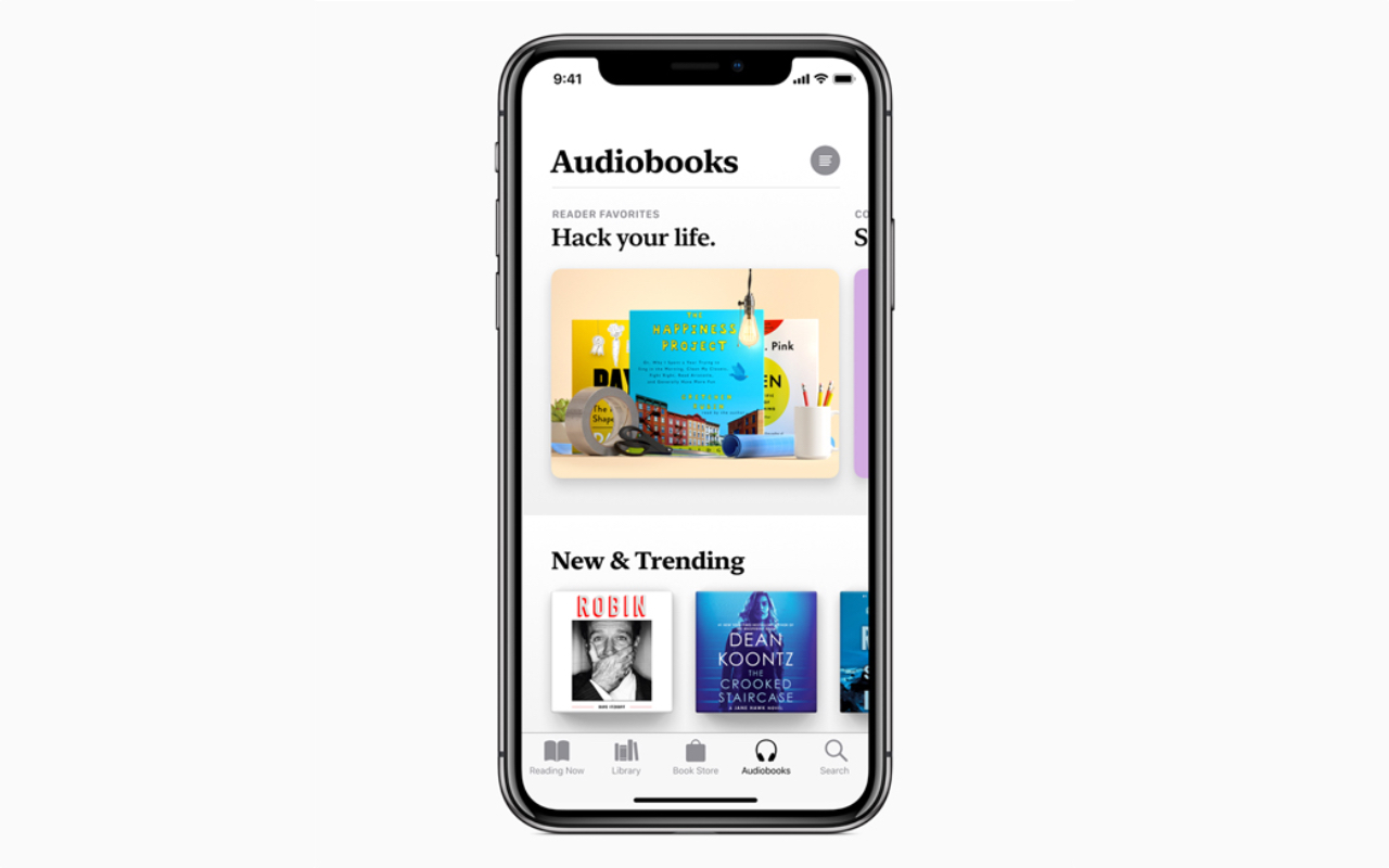 In the Apple Books added six audiobooks, voiced by the celebrity voices