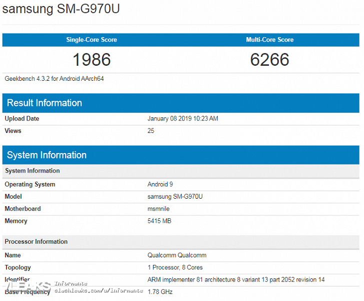 Samsung Galaxy Lite S10 failed on the tests in Geekbench